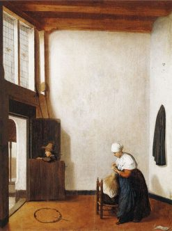 Interior with a Woman Combing a Little Girl's Hair | Jacobus Vrel | Oil Painting