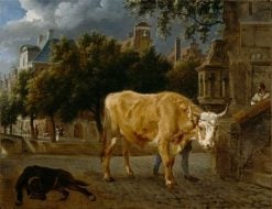 Bull in a city street | Jan van der Heyden | Oil Painting