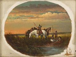 A Halt on the Prairie for a Smoke   John Mix Stanley   Oil Painting