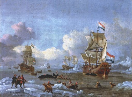 Whaling in the Arctic Ocean   Abraham Jansz. Storck   Oil Painting
