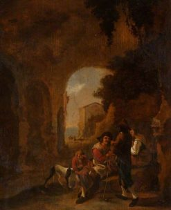 Roman Peasants Conversing in a Grotto amongst Ruins | Isaac de Moucheron | Oil Painting