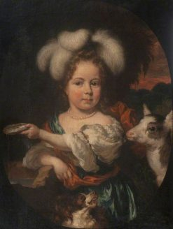 Portrait of a Young Girl with a Feather Headdress and a Kid | Nicolaes Maes | Oil Painting
