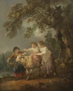 Children and the Pet Sheep | Julius Caesar Ibbetson | Oil Painting