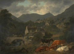 Buttermere Bridge and Church from 'The Fish Inn' | Julius Caesar Ibbetson | Oil Painting
