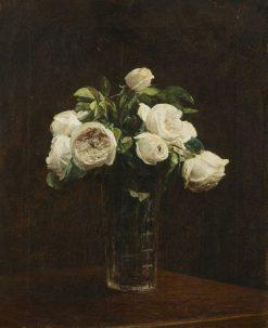 Blush Roses in a Glass   Henri Fantin Latour   Oil Painting