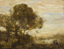 Landscape: Sunset   Jean Baptiste Camille Corot   Oil Painting