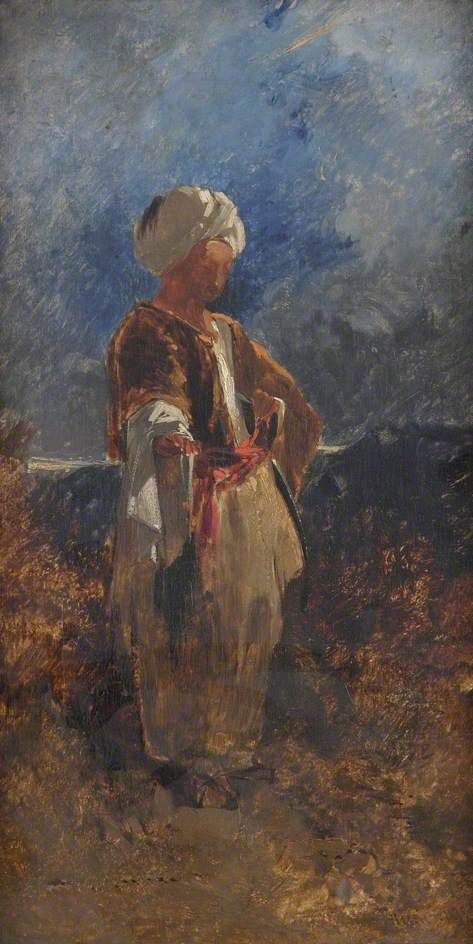 Standing Figure in a White Turban with a Red Sash | William James Muller | Oil Painting