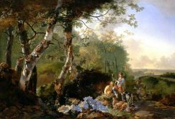 Landscape with Sportsmen and Game | Adam Pynacker | Oil Painting