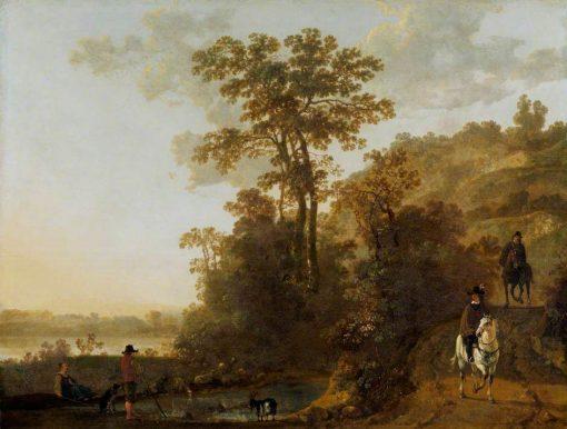 An Evening Ride near a River   Aelbert Cuyp   Oil Painting