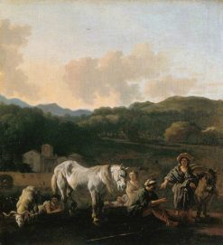 Peasants with a White Horse | Carel Dujardin | Oil Painting