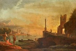 Seaport at Sunset: Evening | Claude Joseph Vernet | Oil Painting
