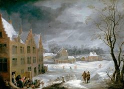 Winter Scene with a Man Killing a Pig | David Teniers II | Oil Painting