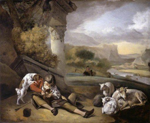Landscape with a Sherpherd Boy   Jan Weenix   Oil Painting