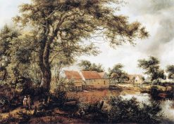 Wooded Landscape with Water Mill   Meindert Hobbema   Oil Painting