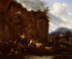 A Farrier and Peasants near Roman Ruins | Nicolaes Berchem | Oil Painting