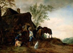 Halt of Cavaliers at an Inn | Philips Wouwerman | Oil Painting