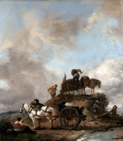 Peasants in the Fields: Hay Harvest | Philips Wouwerman | Oil Painting