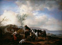 Two Horsemen near a Fountain | Philips Wouwerman | Oil Painting