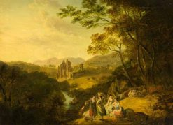 Rosslyn Castle with Washerwomen and Cattle | Julius Caesar Ibbetson | Oil Painting