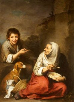 An Urchin Mocking an Old Woman Eating Migas | BartolomE Esteban Murillo | Oil Painting