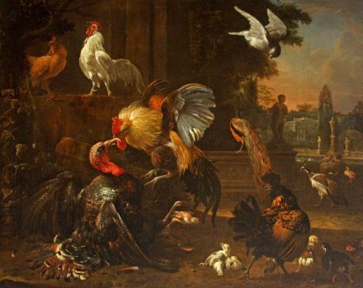 A Cock and a Turkey Fighting with other Fowl | Melchior d'Hondecoeter | Oil Painting