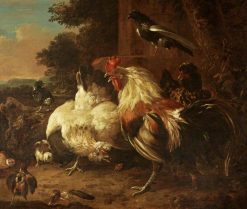 A Cock and Two Hens with Chicks in a Landscape Setting | Melchior d'Hondecoeter | Oil Painting