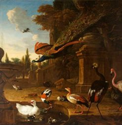Ornamental Fowl in and beside a Pond with a Peacock in Flight | Melchior d'Hondecoeter | Oil Painting