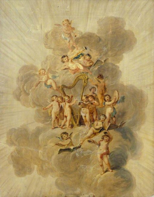 Winged Cherubs with Musical Instruments | Julius Caesar Ibbetson | Oil Painting