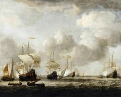 A Dutch Fleet Coming to Anchor in a Breeze | Willem van de Velde the Younger | Oil Painting