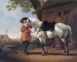 A Cavalier with a Grey Horse | Abraham van Calraet | Oil Painting