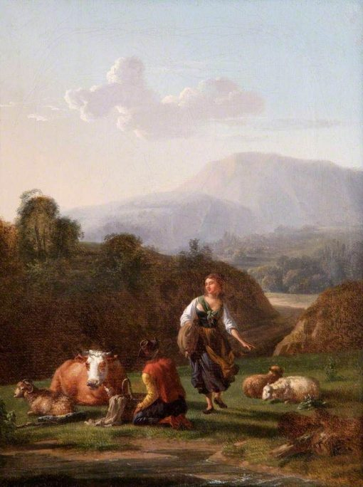 Landscape at a River Bank with Figures and Cattle | Carel Dujardin | Oil Painting