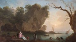 Sunset: View over a Bay with Figures | Claude Joseph Vernet | Oil Painting