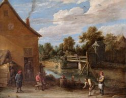 Peasants Playing Bowls in front of an Inn by a River | David Teniers II | Oil Painting