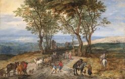 Country Road Scene with Figures: A Man Praying at a Shrine | Jan Brueghel the Elder | Oil Painting