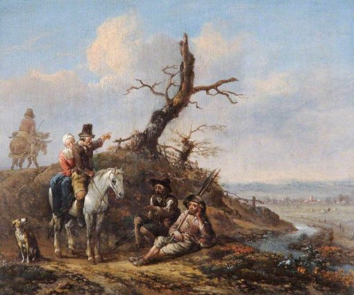 Landscape with Travellers Resting | Jan Wijnants | Oil Painting