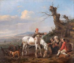Landscape with Travellers Resting and a Couple on Horseback | Jan Wijnants | Oil Painting