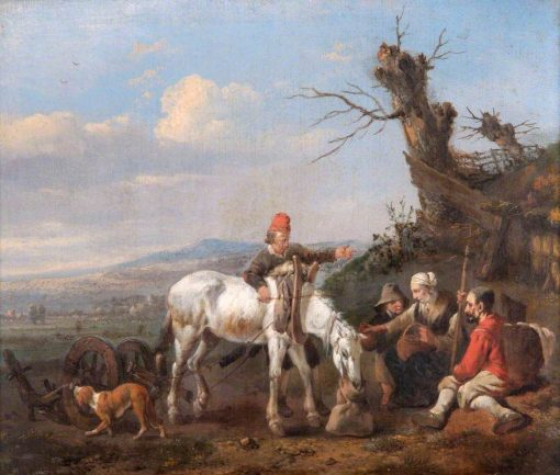 Landscape with Travellers Resting   Johannes Lingelbach   Oil Painting