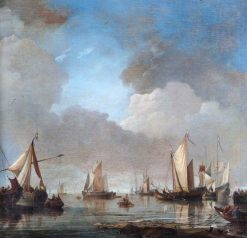 Large Ships and Boats in a Calm | Willem van de Velde the Younger | Oil Painting