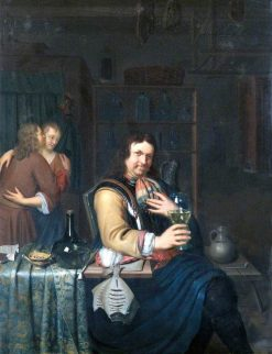 Interior with a Cavalier Drinking and a Couple Embracing | Willem van Mieris | Oil Painting