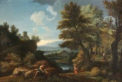 Landscape with Travellers and a Distant River Valley | Gaspard Dughet | Oil Painting