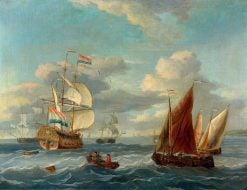 A Dutch Two-Decker and Other Vessels Offshore in a Choppy Sea | Abraham Jansz. Storck | Oil Painting