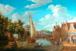 Dutch Canal Scene with Rigged Sailing Vessels and Figures among the Terraced Houses of Holland | Abraham Jansz. Storck | Oil Painting
