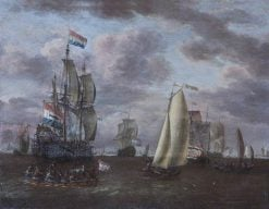 A Whaler and Other Ships at Anchor Before a Port | Abraham Jansz. Storck | Oil Painting