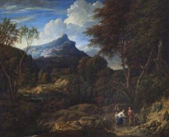 A Mountainous Landscape with Women | Jan Baptist Huysmans | Oil Painting