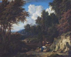 A Valley Landscape with a Grieving Woman and Companions | Jan Baptist Huysmans | Oil Painting