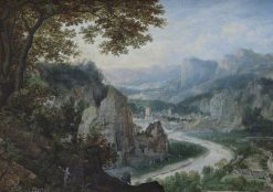 A View on the Meuse with Miners | Lucas van Valckenborch | Oil Painting