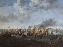 A Battle between Dutch Ships and Chinese Junks | Simon de Vlieger | Oil Painting