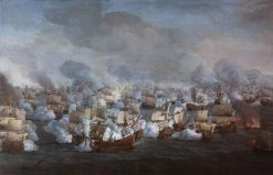 The Battle of the Texel (Kijkuin) 21 August 1673: The Engagement of the Two Fleets | Willem van der Velde the Elder | Oil Painting