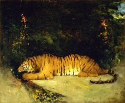 Tiger Devouring a Peacock | Antoine Louis Barye | Oil Painting