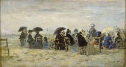 Figures on a Beach   Eugene Louis Boudin   Oil Painting